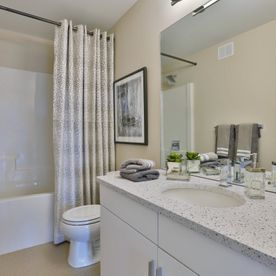 interior view of a bathroom with newly installed countertop